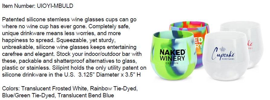 14 oz Stemless Silicone Wine Glass